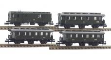 FLEISCHMANN 8770 K - 8773 K - Пассажирские вагоны - почтовый и три 2 класс