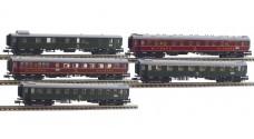 MINITRIX 13719 K - Пассажирские вагоны (набор) - почтовый, ресторан, спальный,, 1 и 2 класс